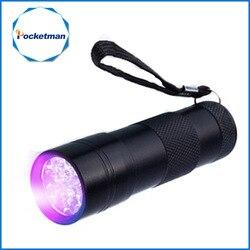 Mini 9LED UV Taschenlampe führte Uv taschenlampe Ultra Violet Unsichtbare Tinten-markierungs Erkennung Taschenlampe 3AAA UV lampe