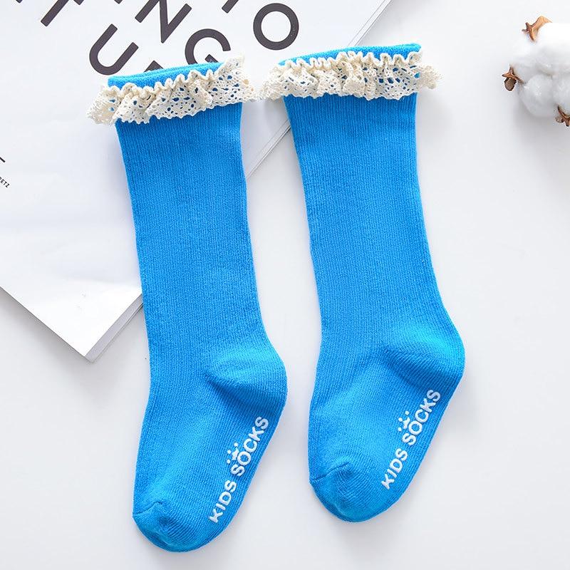 Новые детские носки гольфы с большим бантом для маленьких девочек, мягкие хлопковые кружевные детские носки kniekousen meisje, Прямая поставка#30 - Цвет: Lacy blue