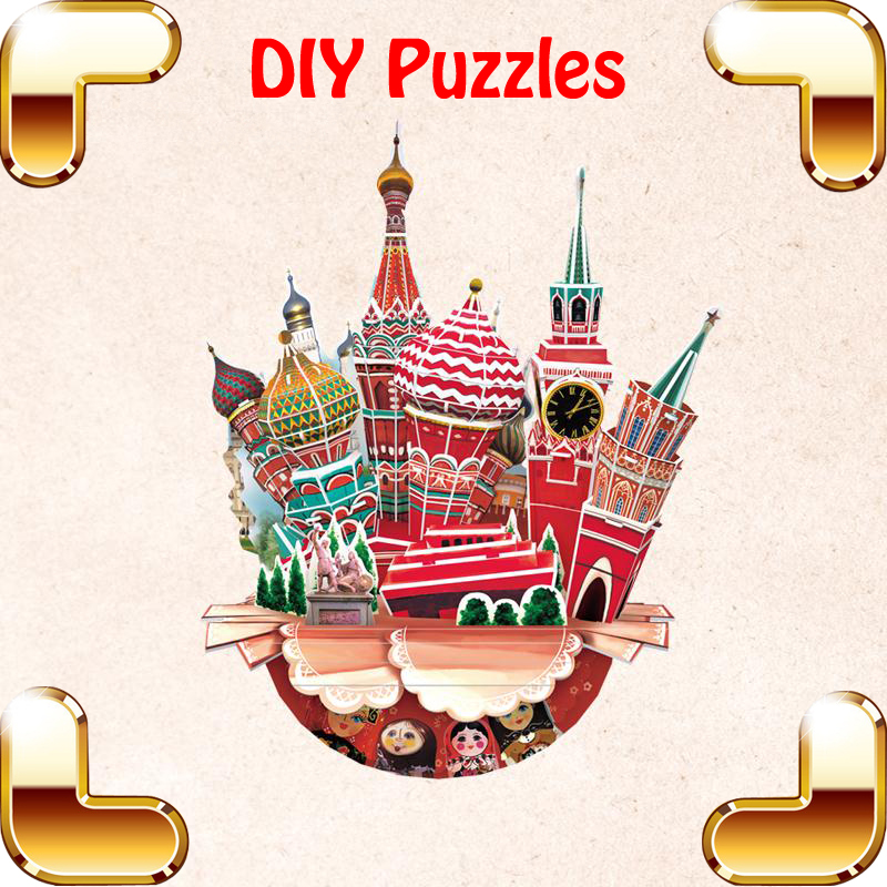 ФОТО New Idea Gift Moscow Cityscape 3D Puzzle DIY Model Structure Decoration Toys Education Creative Game Present Saving Pot