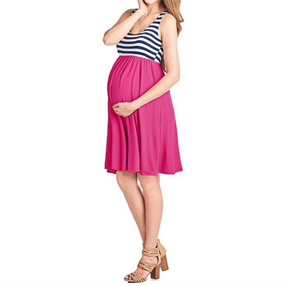 2018 Sleeveless Collar High Waist Women Stitching Sleeveless Loose Dress 5 colors Pregnancy Clothing