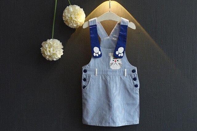 [Bosudhsou.] yyy-8 Autumn clothing children skirt girl's cartoon striped suspender skirt overalls baby girls clothes