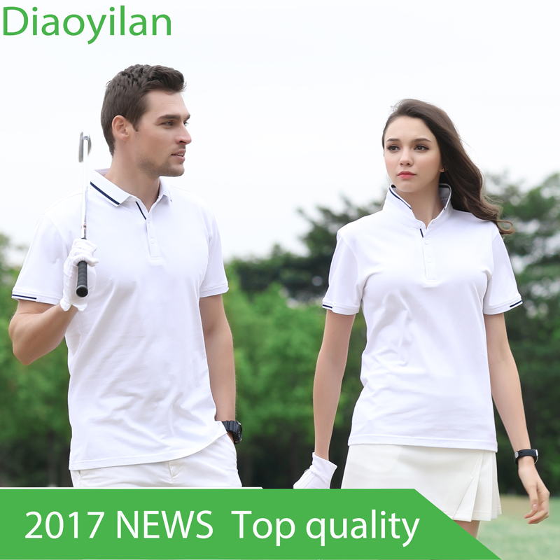 Golf Clothing Mens Golf Polo shirts Summer Breathable Elastic Golf Short Sleeved Uniforms Women Golf polo shirt Plus Size 4XL