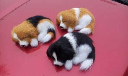 """כ 10 ס""""מ מיני מלאכת שרף פוליאתילן & פרוות כלב שינה, קישוט תינוק a2341 צעצוע מתנה לחג המולד"""