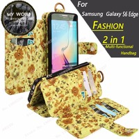 For Samsung Galaxy S6 Edge Case Fashion 2 In 1 Multifunctional Handbag Spacious Of Opening Accordion