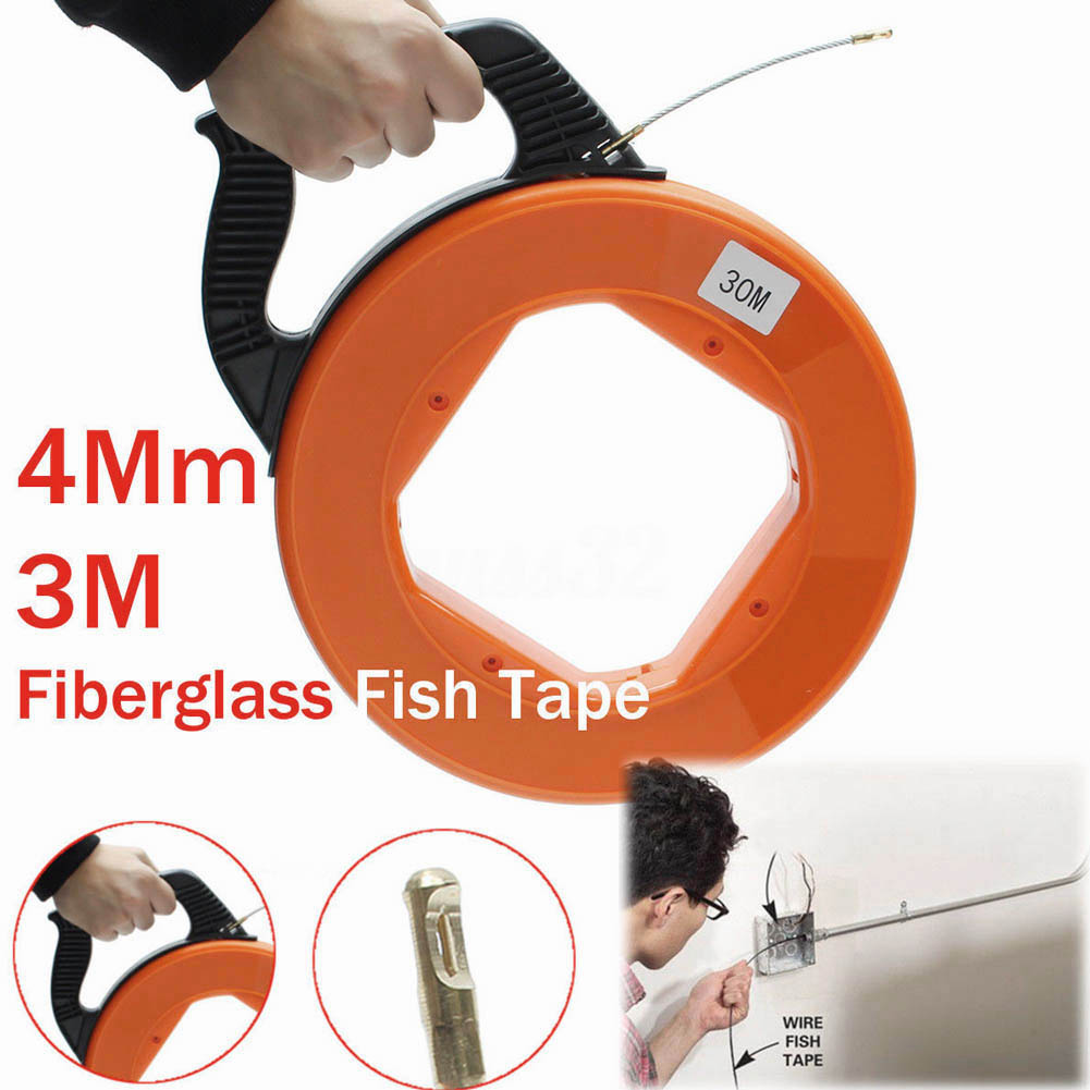 30Meter Fiberglass Fish Tape Reel Puller Conduit Ducting Rodder Pulling Wire Cable Tool @8 JDH99 durable fiberglass fish tape reel puller conduit duct rodder pulling wire cable 30m 4mm for heavy duty wire pulls mayitr