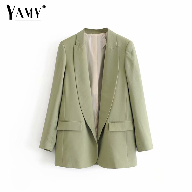 Vintage Cardigan Green Blazers Women Blazers And Jackets Mujer Office Lady Blaser Eminino Elegant Suit Jacket Women Fall 2019