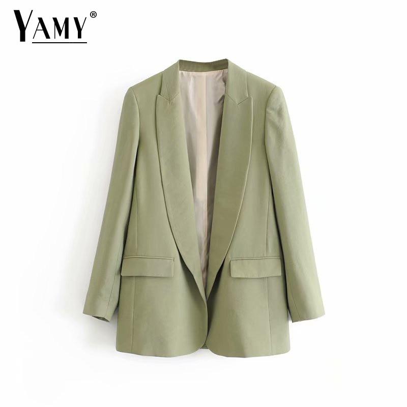 Vintage Cardigan Green Blazers Women Blazers And Jackets Mujer Office Lady Blaser Eminino Elegant Suit Jacket Women Fall 2019