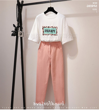 Spring and summer new style Fashion temperament t-shirt + Slim pants Korean fashion two-piece suit