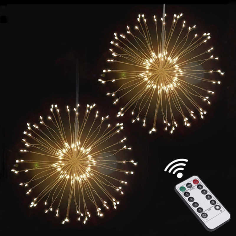 200LEDs 3D Firework LED String Star Party Decoration Night Light Colorful Bombillas Retro Lampara Ampoule Christmas Home Decor