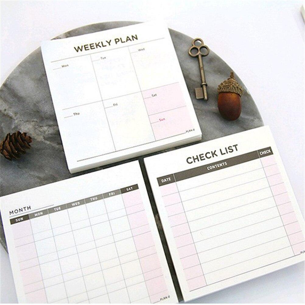 1 * Plan (60 Seiten) Wochenplaner Monat Notebook Tagesordnung Notebooks Notizblock Agenden Tag Sketch 9,4*9,4 Cm GroßE Auswahl;