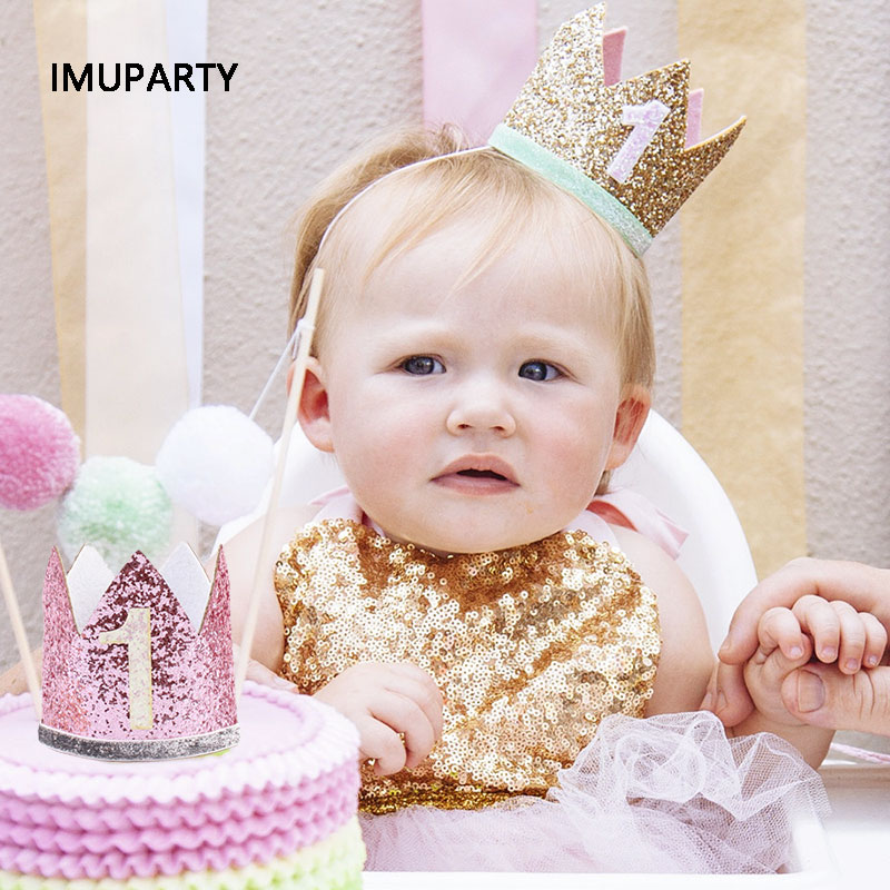 Happy First Birthday Party Hats Decor Cap One Hat Princess Crown 1st 2nd 3rd Year