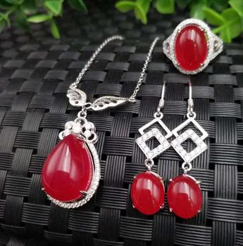 boutique jewelry 4 color  Natural  Jade pendant 925 silver jewelry wholesale Chalcedony ring earring necklace set