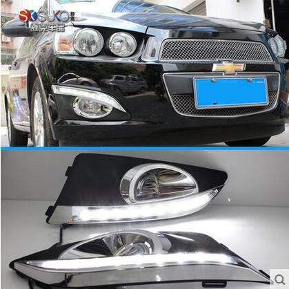 ФОТО Hireno Super-bright LED Daytime Running Light for Chevrolet AVEO 2011 2012 2013 Car LED DRL fog lamp 2PS