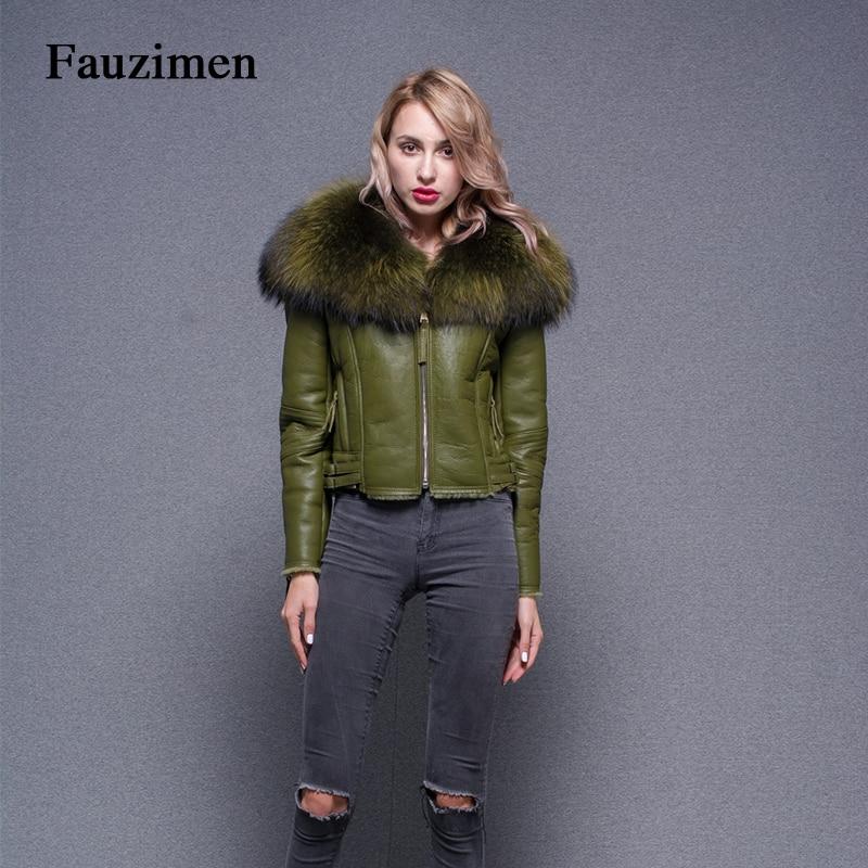 Femmes Fourrure Veste Vert Coupe Collier Manteau Tendance Vestes Luxe De Manteaux Cuir Raton Slim Laveur Et Hiver vent Style En 5IaqwnHR7