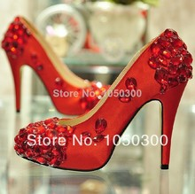 Gorgeous white satin wedding shoes Crystal High-heeled Bridal Dress Shoes Round Toe Popular Formal Shoes