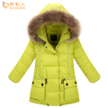New 2016 Winter Girls Children Parkas Coat Long Thick Warm Raccoon Fur Hooded Winter Jacket For Girls DQ030