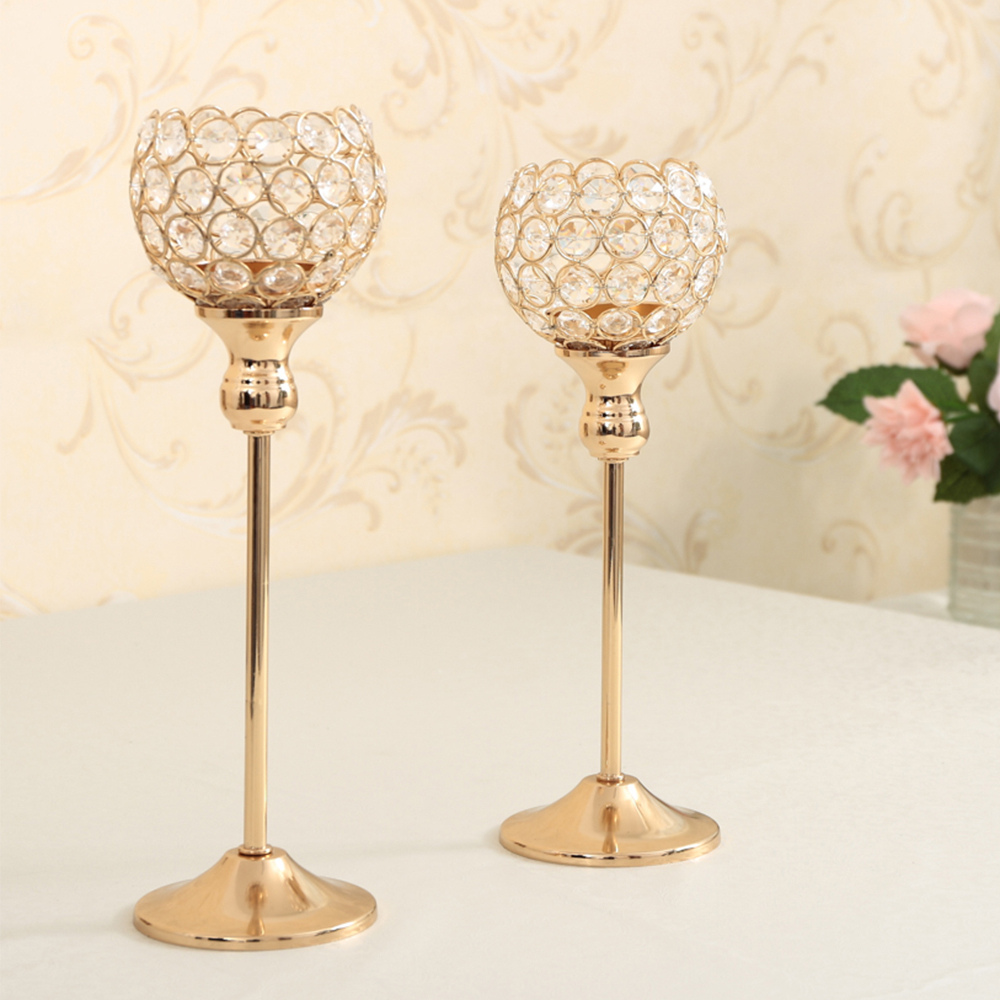 Gold Crystal Candle Holder Wedding Centerpiece Candlesticks Flower ...