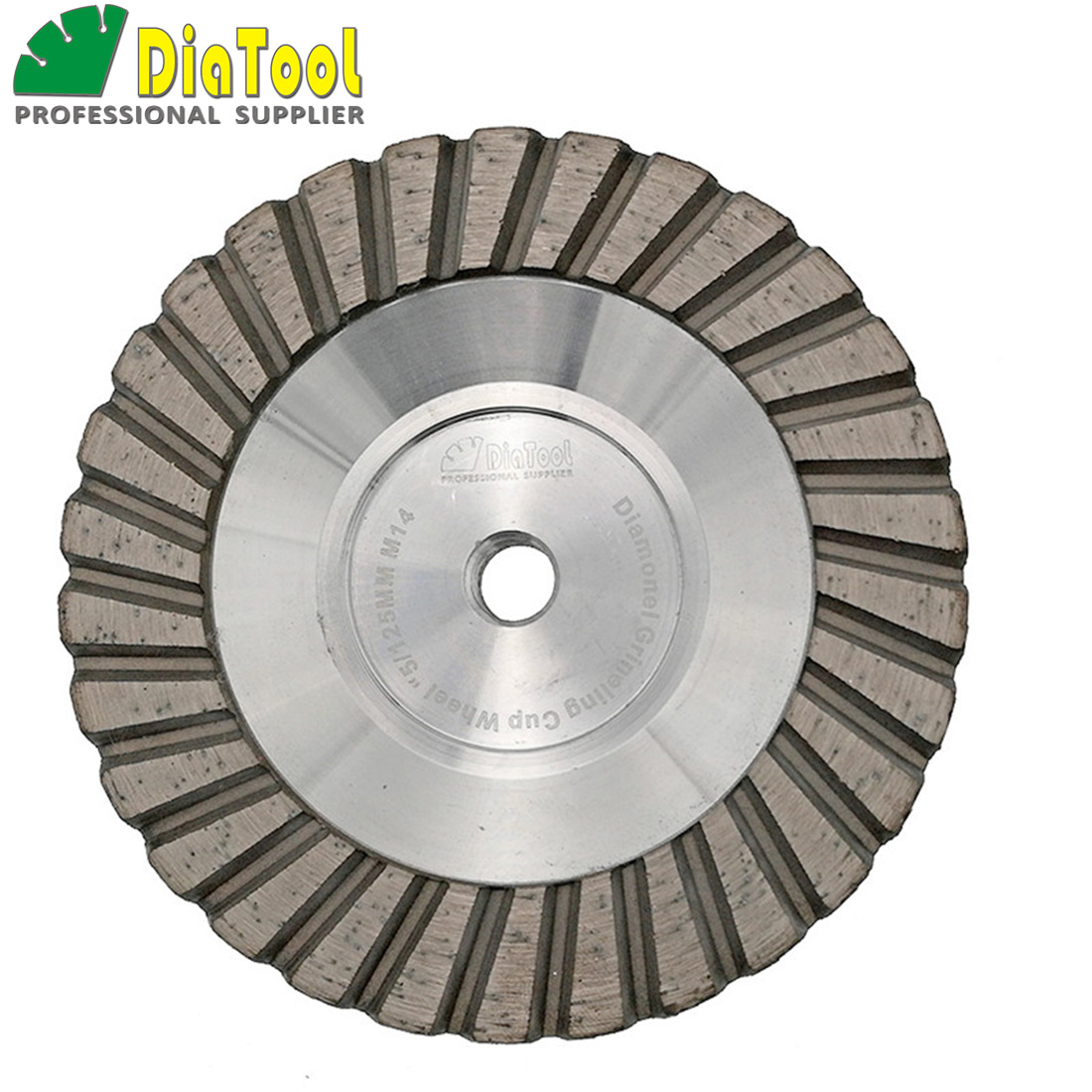 DIATOOL 1pc Diameter 5 inch Aluminum Based Grinding Cup Wheel M14 Thread or 5/8-11 Thread Diamond Fine Grinding Great Finishing ноутбук lenovo v310 15ikb 80t3001erk