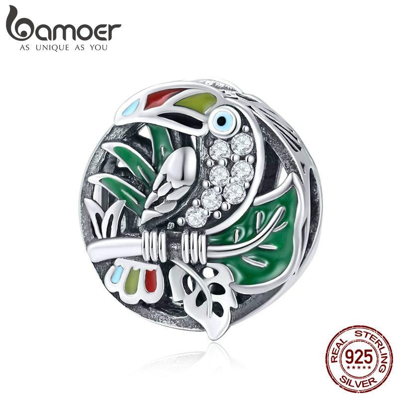 BAMOER S925 Sterling Silver Charm  Love Bird Bead With CZ Fit bracelets jewelry