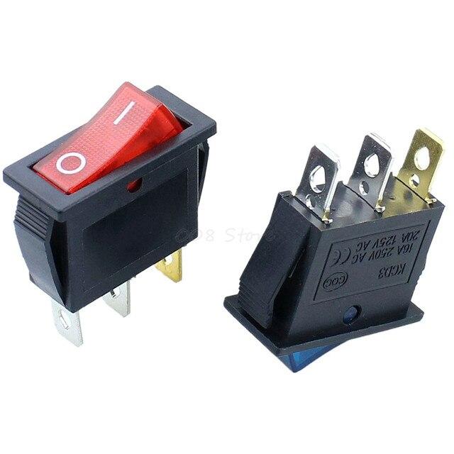 Interrupteur à bascule rectangulaire 3Pin   On/Off, Long avec couvercle étanche pour voiture, tableau de bord SPST KCD3
