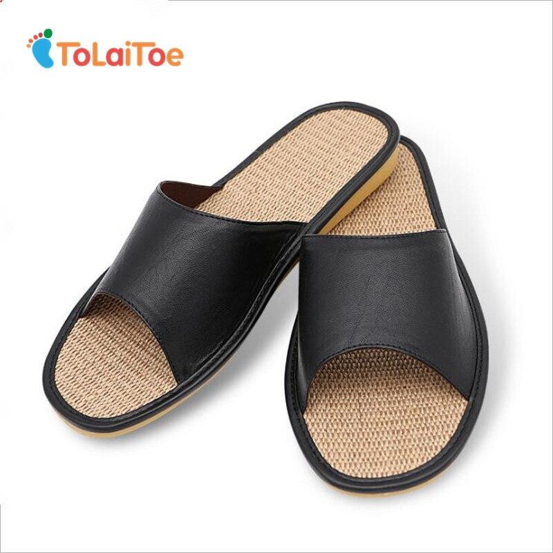 ToLaiToe Pria sandal linen sandal rumah dalam ruangan tendon bernapas bawah lembut anti-selip sandal kulit musim panas