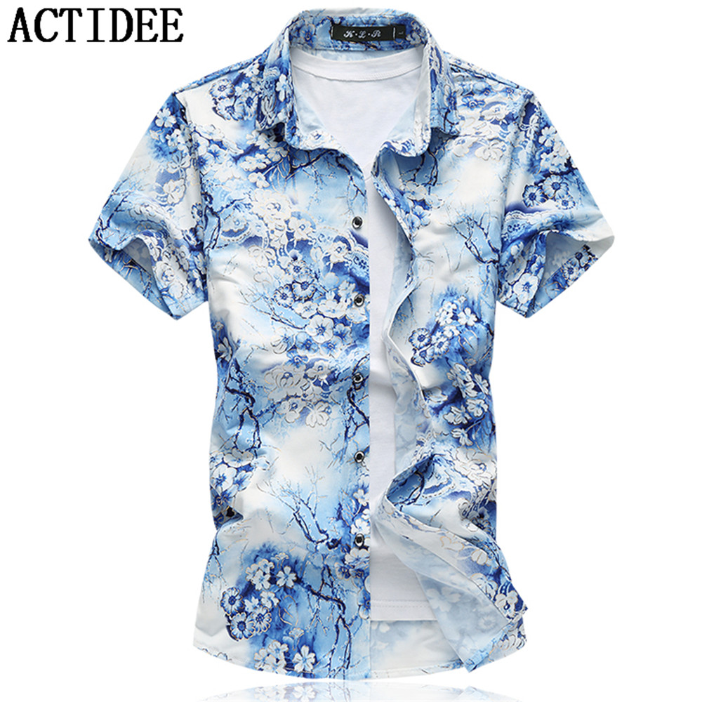 19 Colors New Fashion Short Sleeve Silk Hawaiian Shirt Men