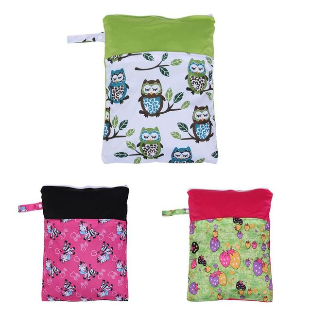 Waterproof Cartoon Printed Diaper Holder Bag Zipper Baby Ny Sanitary Pads