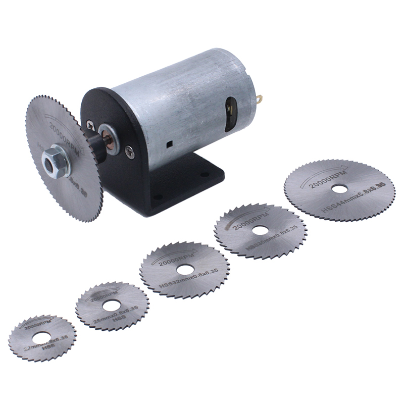 Mini Woodworking Diy Cutter Tools Dc 24V Motor Electric Saw Set With Circular Saw Blades Bracket Fit Wood Plastic Acrylic Plat