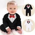 Mamelucos del bebé recién nacido ropa de bebé de algodón ropa de los muchachos caballero corbata bow ocio niño mono party dress