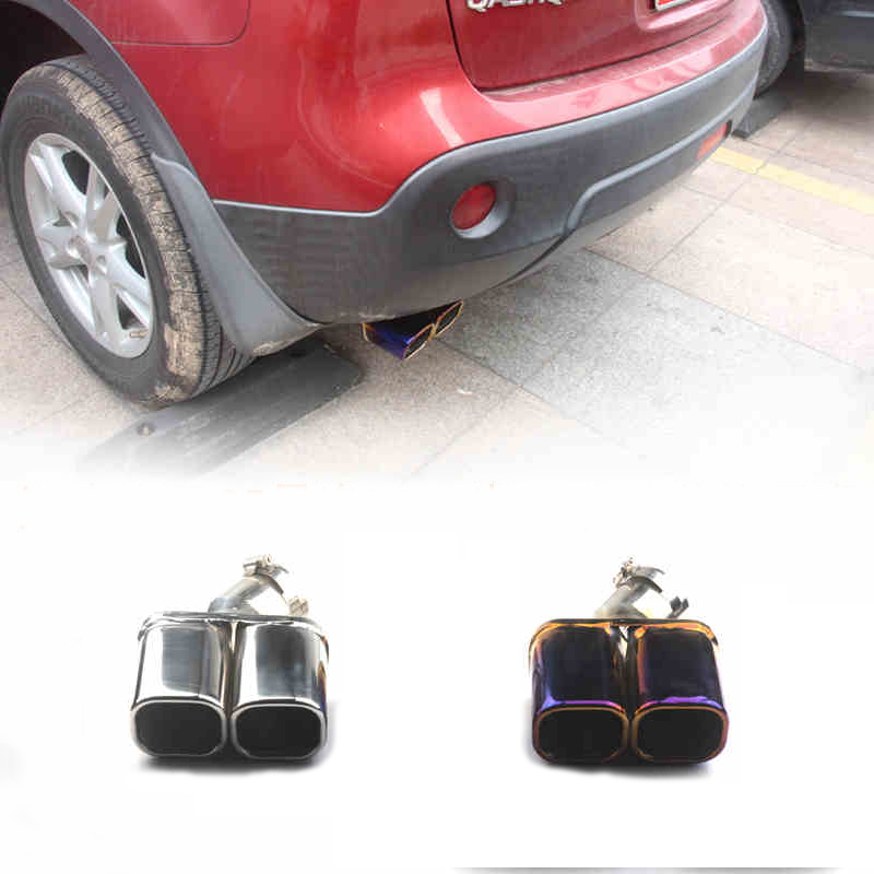 Car Cover Muffler Exterior End Pipe Outlet Dedicate Stainless Steel Exhaust Tip Tail For Nissan Qashqai J10 2007-2013