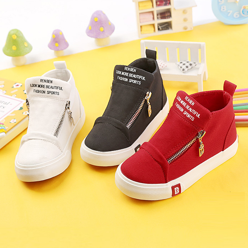 2018 New Spring/Autumn Children Shoes Kids Canvas Shoes Sneakers Boys  Flats Girls Boots  Zipper Shoes Size 25-37