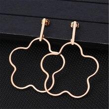 New Arrival Big Hyperbole Gold Silver Color Heart Ear Clip For Women Men Flowers Stainless Steel Stud Earrings Fashion Jewelry
