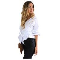 CENTRO COMMERCIALE di Modo delle Donne V Collo Elegante Camicia con Farfallino (BIANCO, S/US ~ 4-6)