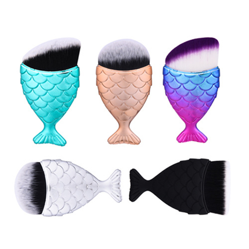 Brand 2017 Fashion Mermaid Makeup Brushes 1 pcs maquiagem Powder Blush Foundation Cosmetic Tools pincel maquiagem Fish Brush 10 pcs makeup brush beauty cosmetic foundation blend tools cream puff makeup brush foundation brushes pincel maquiagem