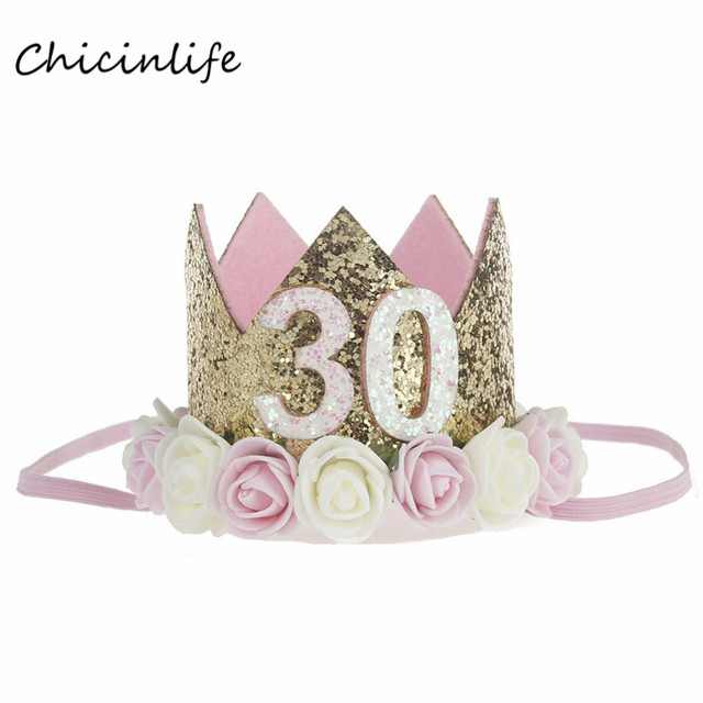 Chicinlife 1pcs Gold 21 30 35 Crown With Flowers Headband Adult 30th Birthday Party Decoration Hat