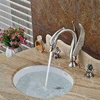 Матовый Никель Палуба Гора Ванная комната кран раковины двойной ручкой 3 отверстия Горячая Холодная смесители