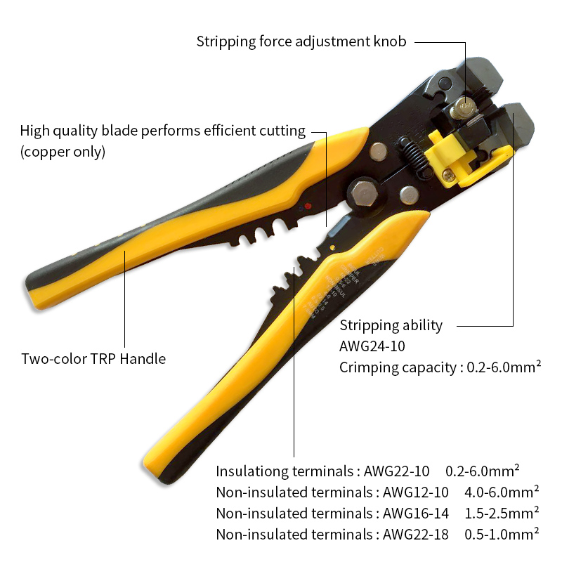 HS D1 AWG 24 10 0 2 6 0mm2 wire stripper Multifunctional stripping pliers Cable wire Stripping Crimping tools Cutting Cable Cutt in Pliers from Tools