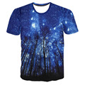 Hot Clusters of stars At dusk Night Forest 3D Print Men T-shirt Unisex Short Sleeve Kid Casual Cloth High Quality