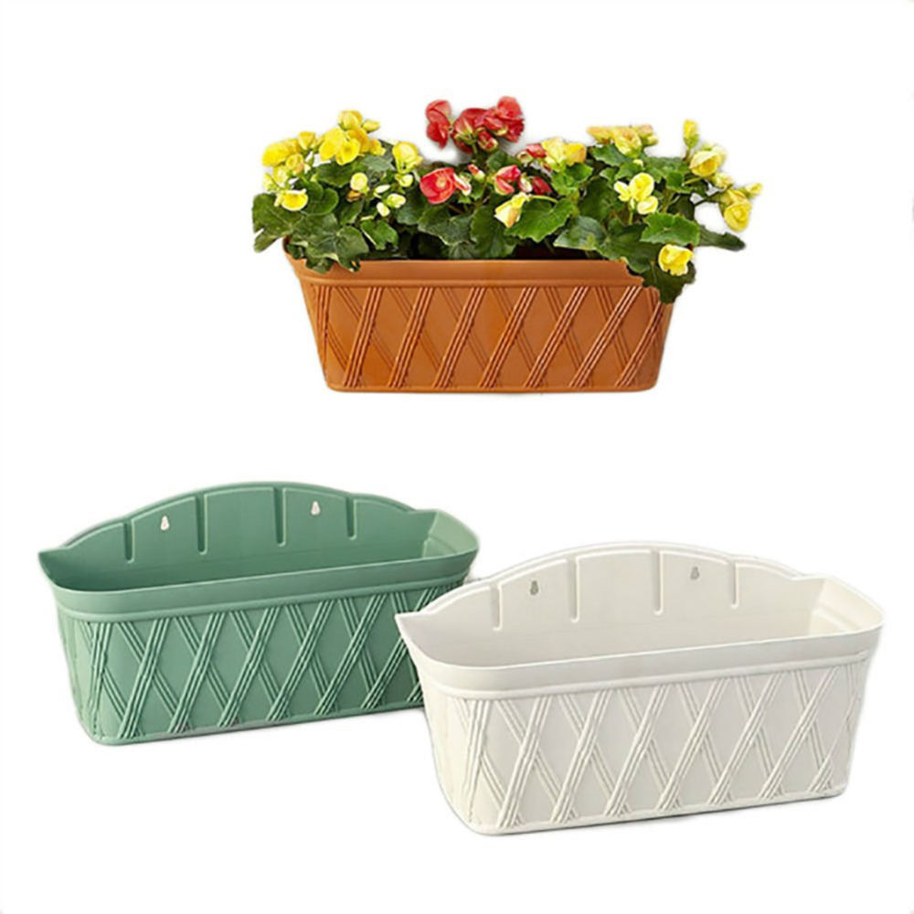wall mounted flower halls indoor and outdoor wall rectangular flower pots balcony planting pots hanging - Outdoor Flower Pots