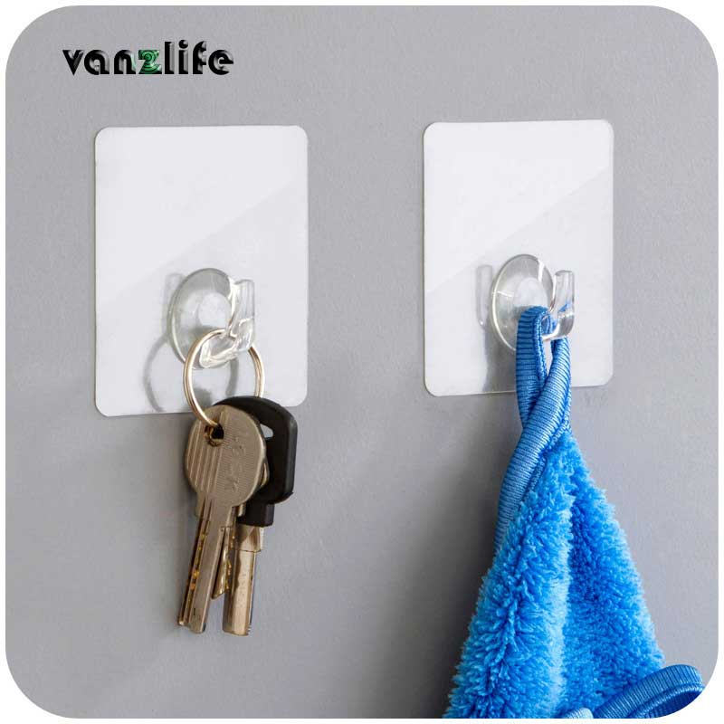 5pcs/vanzlife adhesive suction cups transparent strong hooks for the kitchen rack wall hanger on the bathroom adhesive hook wall