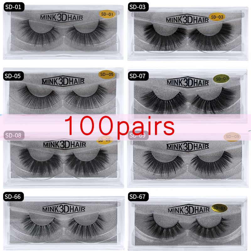 Mangodot 100 pairs mink eyelashes 1cm 1.5cm makeup full strip lashes hand made 3d mink lashes makeup false eyelash fast