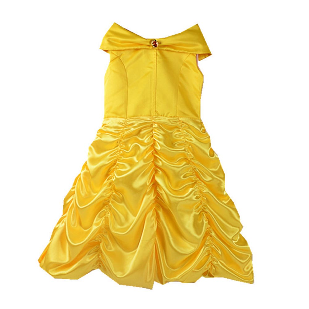 2018 movie Beauty and the Beast Princess Belle Kids cosplay costume girl yellow wedding dress