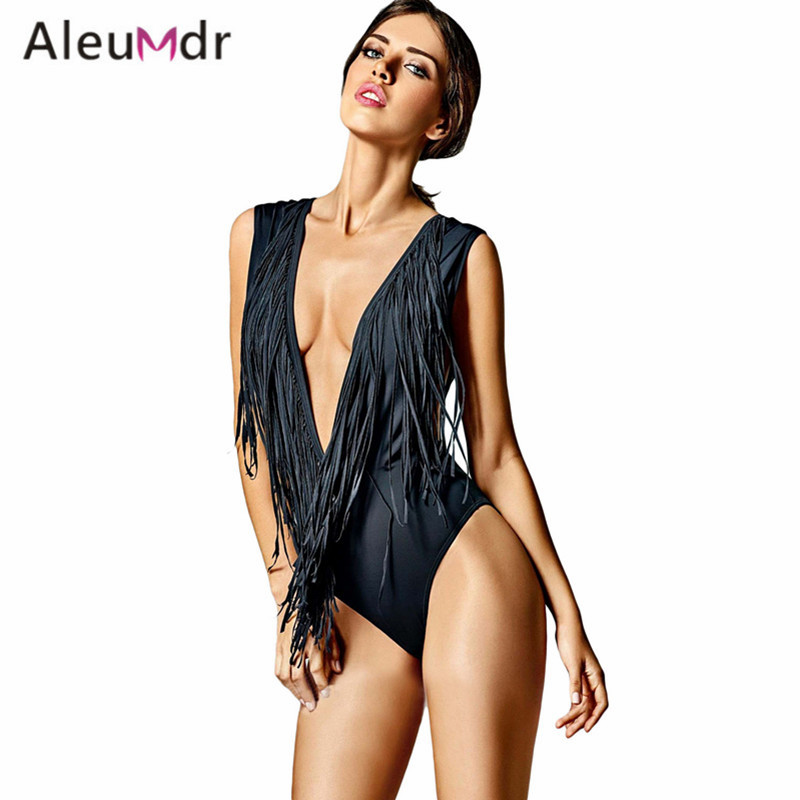 Aleumdr Tassel Swimming Suit For Women Sexy V Neck One-piece High Cut Swimsuit Bikinis LC410098 Traje De Bano De Las Mujeres healthsweet electric antistress foot massager foot massage machines heating viberation foot care device leg massage