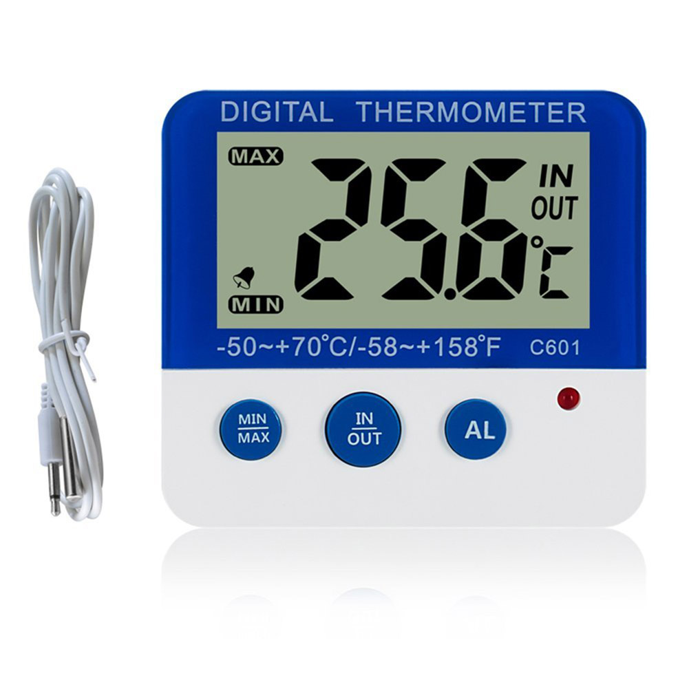 Digital LCD Freezer Thermometer Electronic Temperature Hygrometer Weather Alarm LCC77