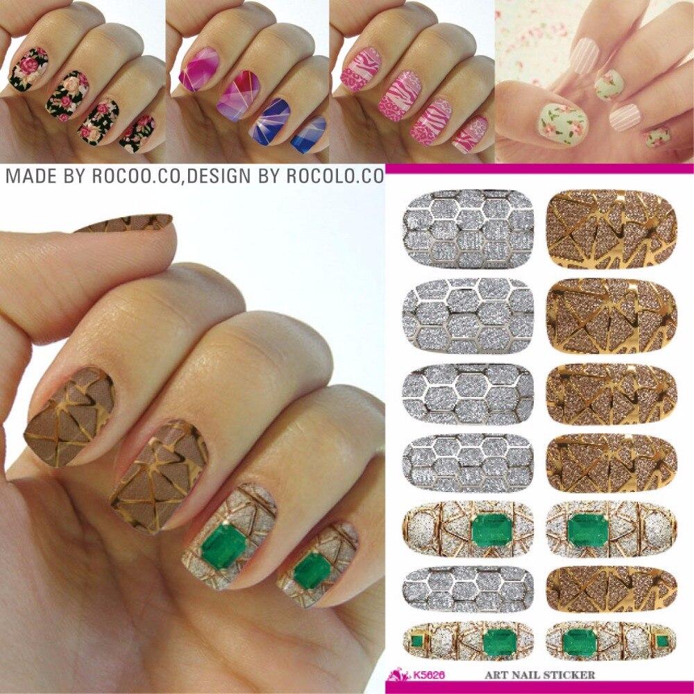 Rocooart K5626 Full Cover Nail Art Sticker False Diamond Designs ...
