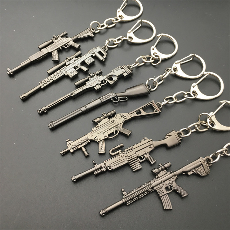 2018 Hot Game 16 Styles PUBG CS GO Weapon Keychains AK47 Gun Model 98K Sniper Rifle Key Chain Ring for Men Gifts Souvenirs 6CM