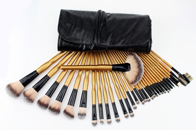 New Professional 32 Pcs Makeup Brushes Cosmetic Kit Foundation Powder Make up Brush Golden Gourd Handle Beauty Facial care+Bag professional bullet style cosmetic make up foundation soft brush golden white