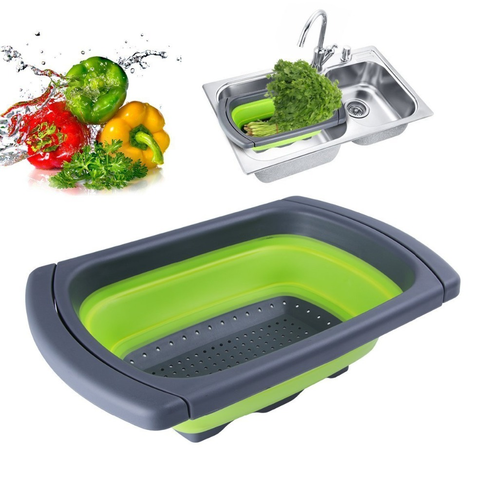 Silicone Collapsible Over The Sink Retractable Colander With Handle Kitchen Folding Strainer Bowls Drain water filter basket