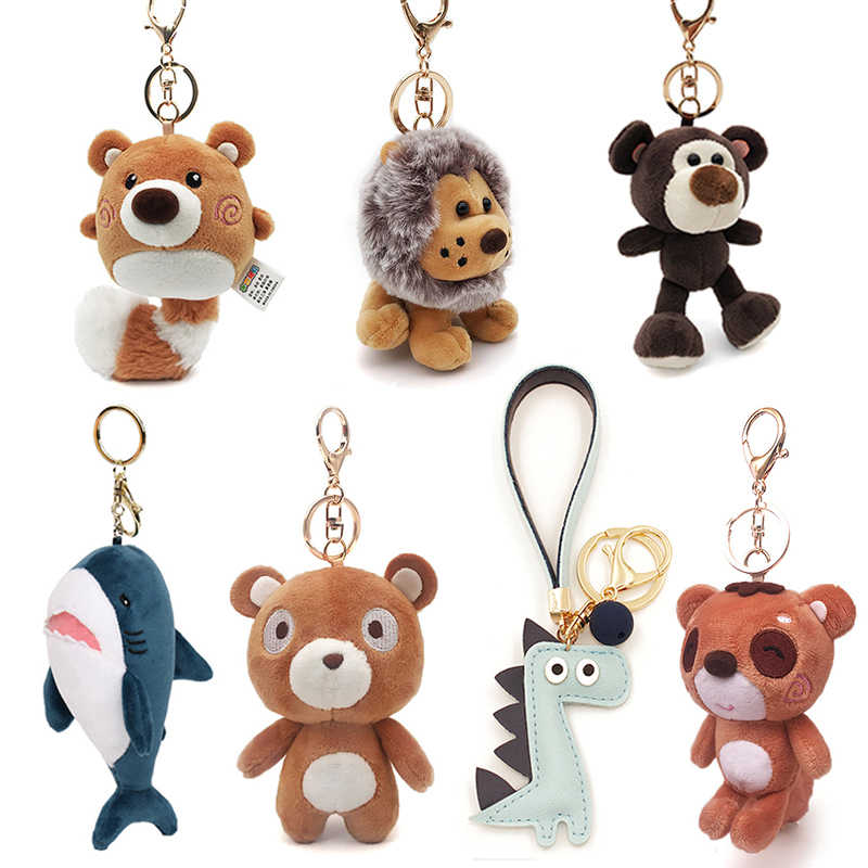 חמוד Cartoon בעלי החיים בפלאש צעצוע Keychain תרמיל תיק Keychain דוב פיל דביבון קוף כריש דינוזאור האריה חביתת חמוד מתנה