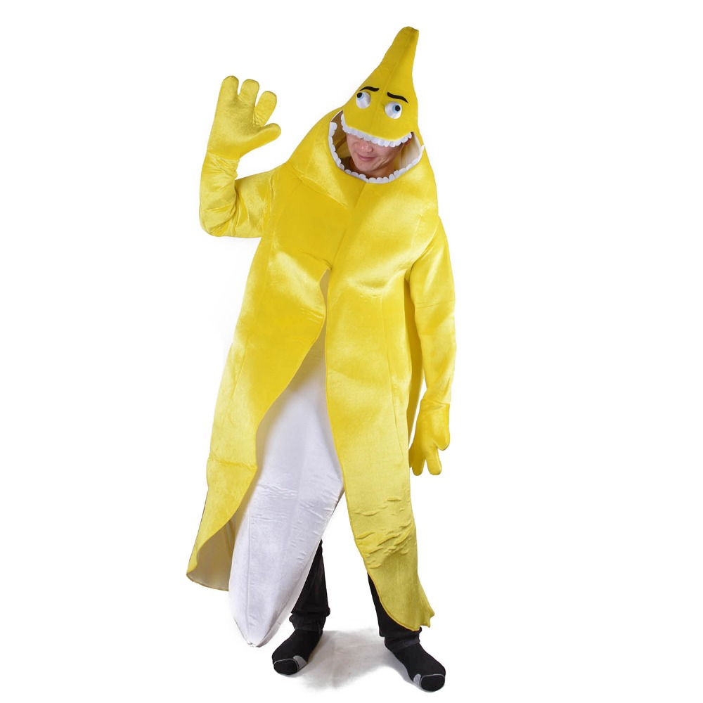 yellow banana fancy dress unisex adult peeled banana costume naughty flashing banana mascot funny mascotte halloween - Banana Costume Halloween